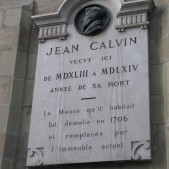 A plaque over the place where John Calvin lived.
