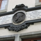 A plaque above the Hus Museum in Constance, Germany.