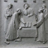 On the door of Zwingli's church is a relief showing the one meeting that occurred between Zwingli and Luther. Both were leaders of the Reformation in Switzerland and Germany respectively, and while they agreed on many things, they disagreed over the meaning of the Lord's Supper.