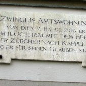 The inscription above the door of Zwingli's homer house.