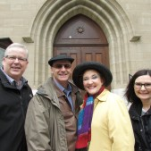 With our hosts, Pastors John and Laura Madan. They pastor in Nice, France, and head up the schools in Nice and Geneva. In this picture, we are standing in front of the smaller auditorium where Calvin lectured, and also where John Knox (during his three years in Geneva) conducted services in English.