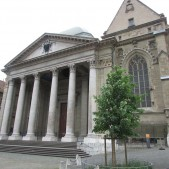 The front of the church where Calvin preached, the Cathedral of St. Peter in Geneva.