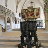 The baptistery St. Mary's Church in Wittenberg, Germany where Martin Luther preached.