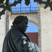 A statue of Martin Luther in the town square of Wittenberg.