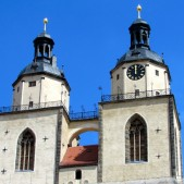 The towers of St. Mary's Church in Wittenberg, Germany where Martin Luther preached.