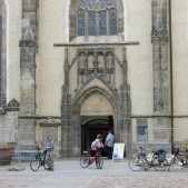 The entrance of St. Mary's Church in Wittenberg, Germany where Martin Luther preached.