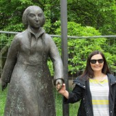 Lisa with the statue of Catherine Von Bora, Luther's wife.