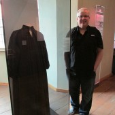 Standing next to one of the robes worn by Luther.