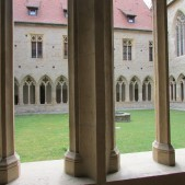 This picture was taken from the one of the hallways in the monastery in Erfurt, looking out into the courtyard.