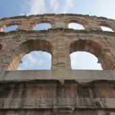 One of the outer rings or walls of the Arena in Verona.