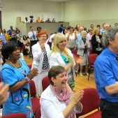 A vibrant congregation celebrates and honors their pastor's anniversary.