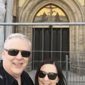 Lisa and I in front of the doors of the Wittenberg Castle Church. Though not the original doors, this is where Martin Luther nailed the 95 theses.
