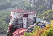 This is one of the monasteries perched high upon a rock formation in Meteora in Greece.